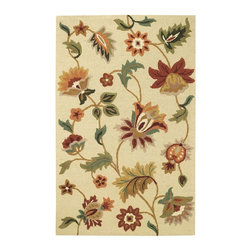 Capel - Transitional Garden Flowers 5'x8' Rectangle Beige Area Rug - The Garden Flowers area rug Collection offers an affordable assortment of Transitional stylings. Garden Flowers features a blend of natural Chocolate color. Hand Tufted of 100% Wool the Garden Flowers Collection is an intriguing compliment to any decor.