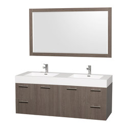 "Wyndham Collection - Wyndham Collection 60"" Amare Grey Oak Double Sink Vanity w/ Acrylic-Resin Top - Modern clean lines and a truly elegant design aesthetic meet affordability in the Wyndham Collection Amare Vanity. Available with green glass or pure white man-made stone counters, and featuring soft close door hinges and drawer glides, you'll never hear a noisy door again! Meticulously finished with brushed Chrome hardware, the attention to detail on this elegant contemporary vanity is unrivalled."