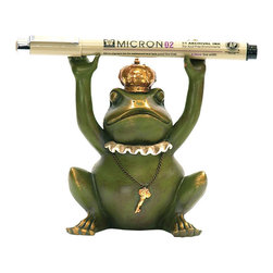 Sterling Industries - Sterling Industries 7-8198 Sterling Superior Frog Gatekeeper Pen Holder - For Your Boss Or The Executive Who Has Everything, The Sterling Superior Frog Gatekeeper Pen Holder Is Worthy To Sit On Any Desk Or Table And Will Put A Smile On His Or Her Face. Whimsically Stylized And Painted Green With A Touch Of Gold Accents. Measures 4.25 Inches Tall X 3.25 Inches Long X 2.5 Inches Wide.  Pen Holder (1)