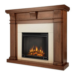 Real Flame - Real Flame Porter Electric Fireplace in Walnut Finish - Real Flame - Electric Fireplaces - 7730EWN - The Porter Fireplace features distinct craftsman appeal, with three arched corbels supporting it�s substantial top and accentuating the generous proportions throughout. In three great finishes, this design is sure to compliment a variety of decor, from classic to contemporary. The Vivid Flame Electric Firebox plugs into any standard outlet for convenient set up. The features include remote control, programmable thermostat, timer function, brightness settings and ultra bright Vivid Flame LED technology.