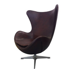 "Moe's Home Collection - St Anne Club Chair Brown - Lounge chair. Accent chair. Modern/Contemporary. Swivel chair. Full leather, fireproof foam, stainless steel base. Dimensions: 35""W x 32""D x 41""H. Seat height: 19""."
