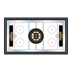 Trademark Global - Framed Hockey Rink Mirror w NHL Boston Bruins - Enjoy this stylish wall mirror and take advantage of the high quality hockey rink design with Boston Bruins team logo. This item comes in a wrapped black wood frame and can be paired with matching items to create the game room of your dream. Makes a great gift. Great for gifts and recreation decor. Mirror with print. Black wrapped wood frames. 26 in. W x 15 in. H (10 lbs.)This National Hockey League Officially Licensed Hockey Rink Wall Mirror is the perfect gift for the Hockey Fan in your life.