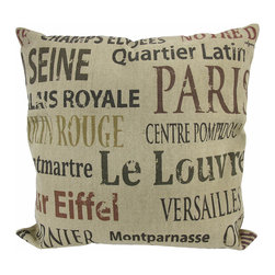 Zeckos - French Landmarks Colored Text Tan Burlap Throw Pillow 16 In. - Add a French accent to your worldly decor with this decorative throw pillow. It features colored text in a variety of font styles of several points of interest and landmarks in France. The pillow measures 16 inches tall, 16 inches wide, has a removable burlap cover and 100% cotton padding inside. This pillow looks great on beds, chairs, and couches anywhere in your home, and the neutral colors are sure to complement most any decor.