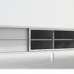 MODLOFT - Lexington TV Stand - The 94-inch Lexington entertainment center combines modern edge with retro flare; featuring charcoal tinted sliding glass door for easy access to all your A/V components.