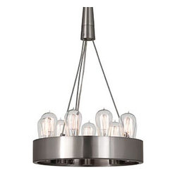 Robert Abbey Lighting - Robert Abbey Rico Espinet Candelaria Small Chandelier in Brushed Nickel - Bulb Type: ADirect WireBrushed Nickel FinishSusp. Hardware: 3 pcs. 5/8 X 12& 1 pc. 5/8 x6 Extension Rods