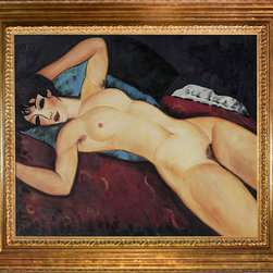 overstockArt.com - Modigliani - Nudo Disteso Oil Painting - Hand painted oil reproduction of a famous Modigliani painting, Nudo Disteso. The original masterpiece was created in 1917. Today it has been carefully recreated detail-by-detail, color-by-color to near perfection. Why settle for a print when you can add sophistication to your rooms with a beautiful fine gallery reproduction oil painting? One of the major artists of his generation, Amedeo Modigliani is most popularly known for portraits and figure studies. The bohemian painter's works form a bridge between the generation of Toulouse-Lautrec and the Art Deco painters of the 1920s. The classically simple, flat forms, elongated proportions and delicate stylization combine influences from African sculpture to Botticelli style. Why not grace your home with this reproduced masterpiece? It is sure to bring many admirers!