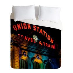 DENY Designs - Bird Wanna Whistle Union Station Duvet Cover - Turn your basic, boring down comforter into the super stylish focal point of your bedroom. Our Luxe Duvet is made from a heavy-weight luxurious woven polyester with a 50% cotton/50% polyester cream bottom. It also includes a hidden zipper with interior corner ties to secure your comforter. it's comfy, fade-resistant, and custom printed for each and every customer.