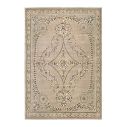 "Nourison - Nourison Versailles Palace Oriental Srolls Beige 9'6"" x 13'6"" Rug by RugLots - Fit for royalty, as the name suggests! This collection features stunningly elegant designs inspired by 18th Century French carpets and handmade with intriguing articulation from the highest quality wool. Features a dense, luxurious pile and hand-carved for added dimension with delicate accents that are a pleasure to both look at and touch."