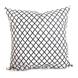 White and Black Throw Pillow by East & Nest - This black and white pillow has a very delicate lattice design.