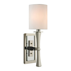 Hudson Valley - One Light Wall Sconce, Polished Nickel - We add unique pizzazz to a sconce whose lines were inspired by the subdued and comfortable style of Danish Modern design. York's gently tapered lamp stem is an elegant contrast to the rectangular back plate, which we step with a layer of highly polished crystal.