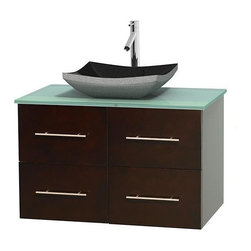 Wyndham Collection - 36 in. Single Bathroom Vanity in Espresso, Green Glass Countertop, Altair Black - Simplicity and elegance combine in the perfect lines of the Centra vanity by the Wyndham Collection . If cutting-edge contemporary design is your style then the Centra vanity is for you - modern, chic and built to last a lifetime. Available with green glass, pure white man-made stone, ivory marble or white carrera marble counters, with stunning vessel or undermount sink(s) and matching mirror(s). Featuring soft close door hinges, drawer glides, and meticulously finished with brushed chrome hardware. The attention to detail on this beautiful vanity is second to none.