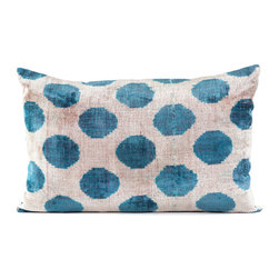"Indigo&Lavender - 16"" x 24"" Silk Velvet Ikat Pillow, Turquoise - Made from Ikat textiles that are loomed from hand-dyed silk in Uzbekistan, along Marco Polo�۪s renowned Silk Road, each pillow has been hand-sewn in Istanbul, Turkey. The goose down fill ensures extra luxury. Solid linen backing and zipper."