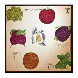 """Glittered Cream Best Of Album - Glittered record album. Album is framed in a black 12x12"""" square frame with front and back cover and clips holding the record in place on the back. Album covers are original vintage covers."""