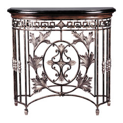 Ambella Home - Chesterfield Half Moon Console - An elegant entryway makes an indelible impression on all who enter your home. This stunning console table, featuring cast acanthus leaves, scrolling ironwork and a black fossil stone top, will greet your guests with glamour.