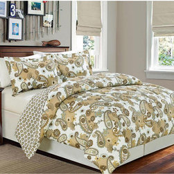 None - Reversible Paisley Dream Comforter - This chic comforter provides two looks in one with a beautiful paisley pattern on one side and a tight medallion pattern on the reverse. The double brushed comforter is machine washable and is available in full/queen and twin sizes.