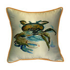 Betsy Drake - Betsy Drake Fiddler Crab Pillow- Indoor/Outdoor - Fiddler Crab Pillow- Large indoor/outdoor pillow. These versatile pillows are equal at enhancing your homes seaside decor and adding coastal charm to an outdoor setting arrangment. They feature printed outdoor, fade resistant fabric for years of wear and enjoyment. Solid back, polyfill. Proudly made in the USA.