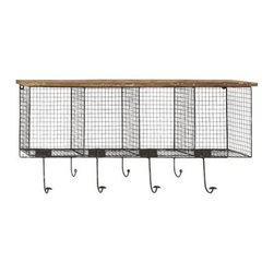Woodland Imports 50989 Wood Metal Wire Mesh Wall Pocket - I absolutely love the design and function of this. It lends lots of charm while providing plenty of space for storage and hanging outerwear.