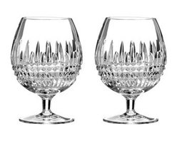 """Waterford - Waterford Two """"Lismore Diamond"""" Brandy Glasses - Dressed in the characteristic, intricate diamond cuts of the """"Lismore Diamond"""" pattern, the radiant clarity of these brandy glasses ensures that the rich color of the contents is highlighted beautifully, creating a feast for the eyes as well as the palate. Made of crystal. Hand wash. Set of two;"""