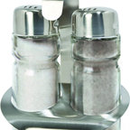 Cuisinox - Salt & Pepper Shakers with Caddy - This simple and practical salt and pepper shaker set features a convenient stainless steel caddy which makes it easy to transport and store. Dishwasher safe.