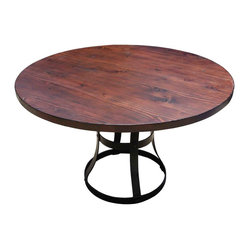 Round Detroit Dining Table with Metal Base