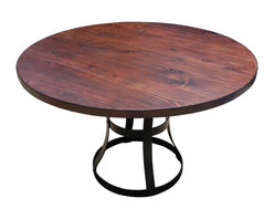 Mortise & Tenon - Round Detroit Dining Table with Metal Base - This strapping industrial table will have all you punks steaming. The top is daring and distressed, in a large, reclaimed Douglas-fir disc, big enough to seat eight. And the rusty, riveted base is made of a series of patinated metal straps and circles that will have you clamoring for the Edison bulbs.