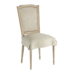 Kathy Kuo Home - Pair French Country Charcoal Caned Back Dining Chair - Constructed from Birch each frame is carved and then hand painted in our Parker Grey which is a blend of grey and beige hues. Seat cushion has hand tied springs which delivers a firmer seat lasting much longer than your basic stuffing.
