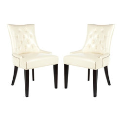Safavieh - Austyn Side Chair - It is a Deco darling. The Austyn Side Chairs bring chic, modern style to the dining room. Their lush flat cream bicast leather upholstery highlights its curvaceous figure while its sleek birch wood legs with espresso finish add just the right amount of Park Avenue style.