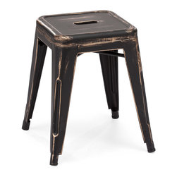 ZUO ERA - Marius Stool Antique Black Gold (set of 2) - This stool is made of a solid steel frame in a rustic antiquate black with gold accents finish.