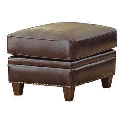 Steve Silver Furniture - Steve Silver Caldwell Ottoman in Walnut Leather - Ottoman in Walnut Leather belongs to Caldwell Collection by Steve Silver Made of 100% leather, the Caldwell ottoman will bring an inviting feel to your space. The ottoman features tooled leather accents. A Santa Maria Walnut color is the leather and adds for a warmth and masculine collection.   Ottoman (1)