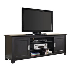 "Walker Edison - Walker Edison 70"" Wood TV Console with Sliding Doors in Black - Walker Edison - TV Stands - W70C25SDBL - Elegance and function combine to give this contemporary wood TV console a striking appearance. Console features multi-purpose shelving behind unique sliding doors and provides ample storage for a variety of A/V components and media accessories. Crafted from solid wood in a rich black finish this stand will accommodate most flat-panel TVs up to 70 in."