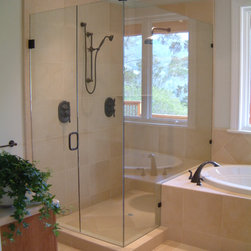 "Glass Shower Enclosures - Custom Frameless Shower Enclosure with 3/8"" and 1/2"" Glass.  Features Oil Rubbed Bronze Hardware"