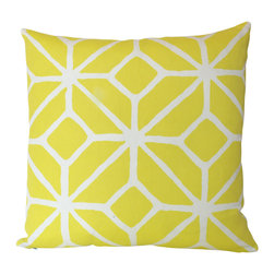 The Pillow Studio - Both Sides - Yellow Outdoor Pillow Covers in Schumacher Trellis Print - This pillow has a bold, trellis design and great contrast between the bright yellow and the crisp white. It would be great indoors or outdoors.