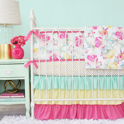 Caden Lane - Gabby's Garden Floral Crib Bedding - Pretty in pink and floral with mint accents, Caden Lane's Gabby's Garden baby bedding features a 3 tiered ruffle crib skirt and a floral printed bumper for a sweet and sophisticated nursery design.