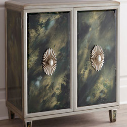 "John-Richard Collection - John-Richard Collection ""Sweeney"" Chest - Designed to impress, this two-door cabinet features individually reverse-painted beveled glass panels in a faux-jade finish and oval door handles in a dramatic radiating sculpted design. From the John-Richard Collection. Handcrafted of acacia wood and..."