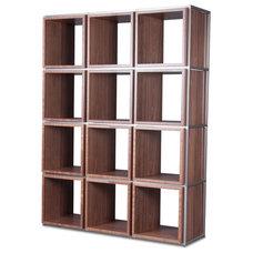 Modern Wall Shelves Grid I Walnut Shelf Set