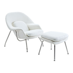 Modern White Fabric Lounge Chair Wall Street - The remarkable design of this Modern White Fabric Lounge Chair Wall Street is inspired by the original Womb Chair. Upholstered with the soft and warm wool fabric, this lounge chair is one of the most comfortable in the category. It has stainless steel legs equipped with plastic foot caps to prevent scratching on floors. The ottoman goes complimentary. Available in different colors.