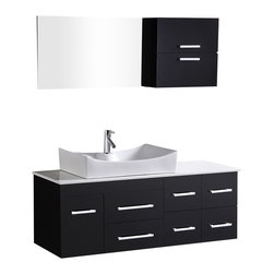 """Design Elements - Design Elements DEC1101 Vanity in Espresso - The Springfield 53"""" wall-mount vanity is constructed of solid hardwood in espresso finish. The unique rectangular vessel sink and composite white stone countertop beautifully contrast with the sharp lines of the espresso cabinetry to bring a crisp contemporary look to any bathroom. This unique vanity includes six drawers and one single cabinet door, all adorned with satin nickel hardware. The mirror and attached medicine cabinet are included. The Springfield vanity is designed as a centerpiece to awe and inspire the eye without sacrificing quality, functionality, or durability."""