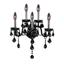 "Worldwide Lighting - Provence 5 Light Chrome Finish & Black Crystal 13"" Wall Sconce - This stunning 5-light Wall Sconce only uses the best quality material and workmanship ensuring a beautiful heirloom quality piece. Featuring a radiant chrome finish and finely cut premium grade black plated crystals with a lead content of 30%, this elegant wall sconce will give any room sparkle and glamour. Worldwide Lighting Corporation is a privately owned manufacturer of high quality crystal chandeliers, pendants, surface mounts, sconces and custom decorative lighting products for the residential, hospitality and commercial building markets. Our high quality crystals meet all standards of perfection, possessing lead oxide of 30% that is above industry standards and can be seen in prestigious homes, hotels, restaurants, casinos, and churches across the country. Our mission is to enhance your lighting needs with exceptional quality fixtures at a reasonable price."