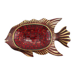 Carved Wood Mosaic Glass Fish Candy Dish Bowl - This wonderful hand carved wooden fish-shaped dish is great for use as a candy dish or potpourri dish. Hand-crafted in Indonesia from Albesia wood, the fish measures 1 1/4 inches tall, 15 1/2 inches long and 9 inches wide. It has a crackle painted red finish, with metallic gold accents. The concave center section is covered in red glass mosaic squares.