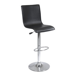 """Winsomewood - Spectrum High Back L Shape Air Lift Stool, Single, RTA - Spectrum full back airlift adjustable swivel stool has black faux leather upholstery and chrome base and handle. The full back supports you while the curved seat is designed for extra comfort. The spectrum stool adjusts from 24-30"""" in height and comes ready to assemble with tools and hardware."""
