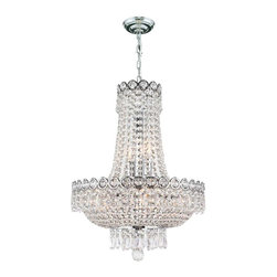 Worldwide Lighting - Empire 8-Light Chrome Finish and Clear Crystal Chandelier - This stunning 8-light crystal chandelier only uses the best quality material and workmanship ensuring a beautiful heirloom quality piece. Featuring a radiant chrome finish and finely cut premium grade crystals with a lead content of 30%, this elegant chandelier will give any room sparkle and glamour. Worldwide Lighting Corporation is a privately owned manufacturer of high quality crystal chandeliers, pendants, surface mounts, sconces and custom decorative lighting products for the residential, hospitality and commercial building markets. Our high quality crystals meet all standards of perfection, possessing lead oxide of 30% that is above industry standards and can be seen in prestigious homes, hotels, restaurants, casinos, and churches across the country. Our mission is to enhance your lighting needs with exceptional quality fixtures at a reasonable price.