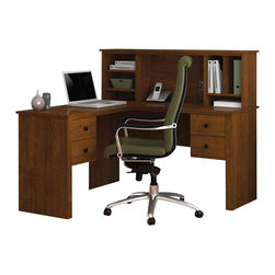 Bestar - Bestar Somerville L-Shaped Desk with Hutch in Tuscany Brown - Bestar - Home office Desks - 4585063