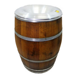 "Master Garden Products - Reclaimed Wine Barrel Waste Receptacle with Aluminum Fire Safe Lid, 26""W x 36""H - This beautiful open top 55 gallon environmentally friendly reclaimed wine barrel waste receptacle is designed with a removable fire safe aluminum rid for convenience and safety. Use them for refuse and garden debris. These rustic barrel receptacles are excellent in hospitality businesses like bars, restaurants and resorts. Wide open top for high traffic places such as restaurants, hotels, and other public places. Each individual item's appearance and color tone may vary due to the reclaimed barrel material used in the product. Used with a 52 gallon waste plastic liner."
