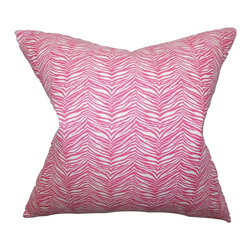 The Pillow Collection - Themis Zebra Print Pillow Pink - Refresh your living room or bedroom with this lovely throw pillow. Embellished with a zebra print in pink and white, this accent pillow offers a punch of color to your sofa, bed or seat. With its funky and fresh detail, this toss pillow makes a great statement piece anywhere inside your home. Constructed with 100% soft cotton fabric. Hidden zipper closure for easy cover removal.  Knife edge finish on all four sides.  Reversible pillow with the same fabric on the back side.  Spot cleaning suggested.
