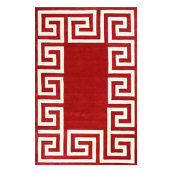 """nuLOOM - Contemporary 8' 6"""" x 11' 6"""" Red Hand Tufted Area Rug Greek Key - Made from the finest materials in the world and with the uttermost care, our rugs are a great addition to your home."""