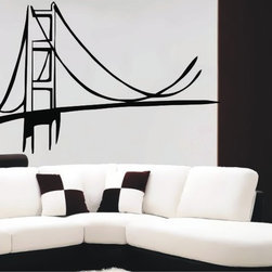 StickONmania - Golden Gate Bridge Sticker - A cool design of the Golden Gate Bridge for your wall. Decorate your home with original vinyl decals made to order in our shop located in the USA. We only use the best equipment and materials to guarantee the everlasting quality of each vinyl sticker. Our original wall art design stickers are easy to apply on most flat surfaces, including slightly textured walls, windows, mirrors, or any smooth surface. Some wall decals may come in multiple pieces due to the size of the design, different sizes of most of our vinyl stickers are available, please message us for a quote. Interior wall decor stickers come with a MATTE finish that is easier to remove from painted surfaces but Exterior stickers for cars,  bathrooms and refrigerators come with a stickier GLOSSY finish that can also be used for exterior purposes. We DO NOT recommend using glossy finish stickers on walls. All of our Vinyl wall decals are removable but not re-positionable, simply peel and stick, no glue or chemicals needed. Our decals always come with instructions and if you order from Houzz we will always add a small thank you gift.