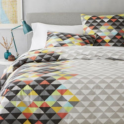 Op Art Duvet Cover, Slate - This modern bedding would be great in a master bedroom, but I think the graphic design and colors would be perfect for a little boy's room too.