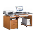 None - Deluxe Glass-top Computer Desk with File Drawer - Give your office a stylish,contemporary new look with this modern glass-top computer desk. This desk is crafted from medium-density fiberboard for rugged durability and features a functional design with a file cabinet drawer to help you get organized.