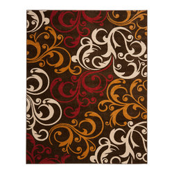 Safavieh - Safavieh Newbury Nwb8703-2520 Brown / Gold Area Rug - The bold design statement of Safavieh is Newbury area rugs is expressed through large-scale flowers and medallions. A palette of carefully selected earth tones gives the Newbury rugs a wide range of options. This collection is power-loomed using polypropylene fibers for durability, easy maintenance, and luxurious softness. A Newbury area rug adds color and warmth to a transitional living room, dining room, or bedroom floor.