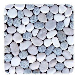 Design For Less - Kandui Pebble Tile Blend - You'll hardly believe the way your space is so beautifully transformed with this highly unique (not to mention gorgeous) pebble tile. It feels amazing under your feet and brings the calming effects of nature into your home. These beautiful, earth toned river rocks are placed upon a mesh back for easy installation.